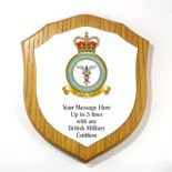 Military Forces Personalised Oak Veneer Shield Plaque, ref MFOLP